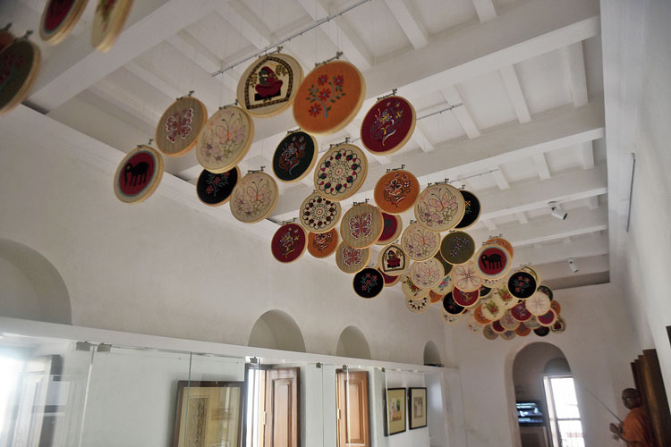 A ceiling installation of embroidery work in one of the rooms on the first floor of Sister Nivedita Museum where vocational training was imparted