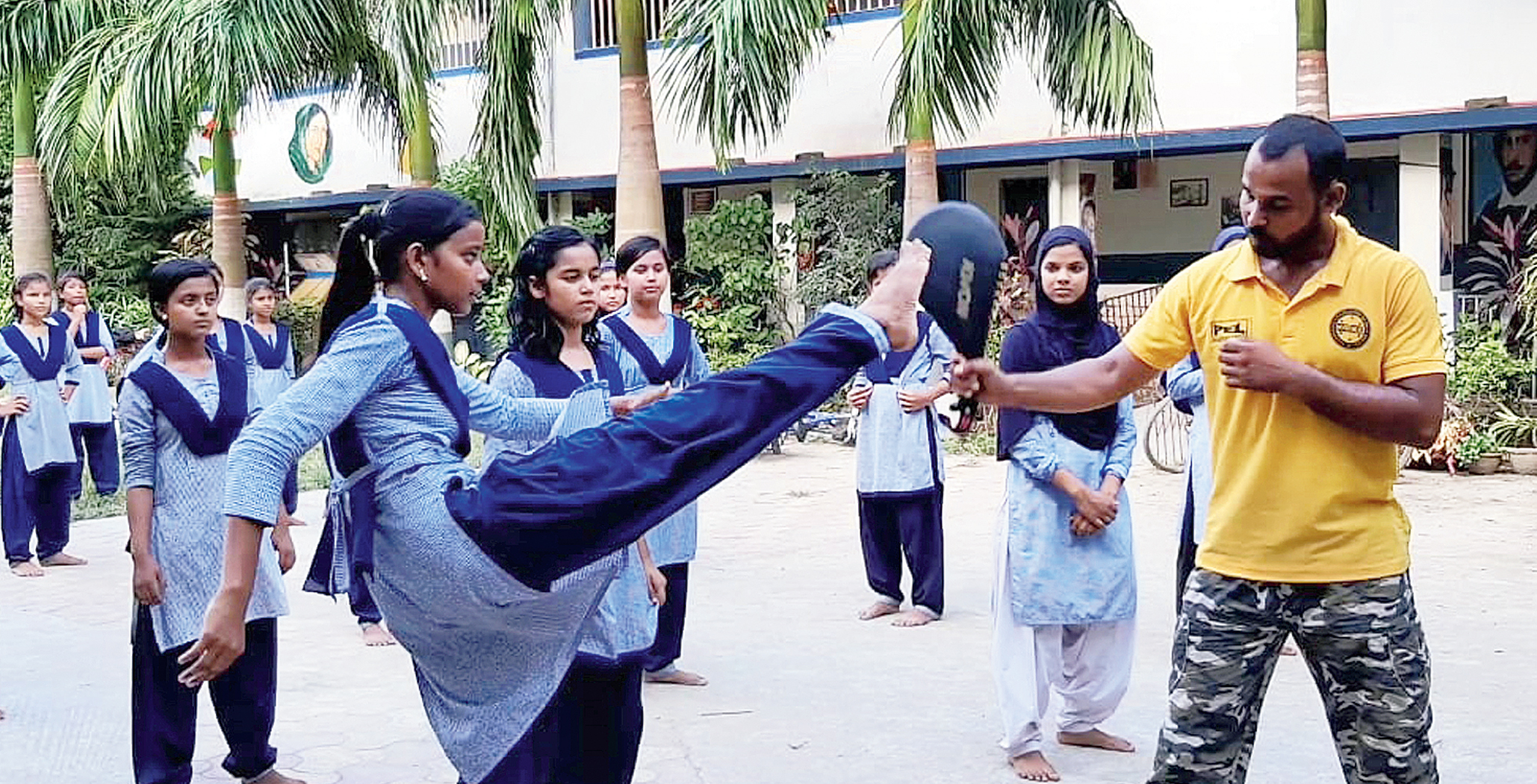 A self-defence class in progress at Laskarpur High School in Murshidabad