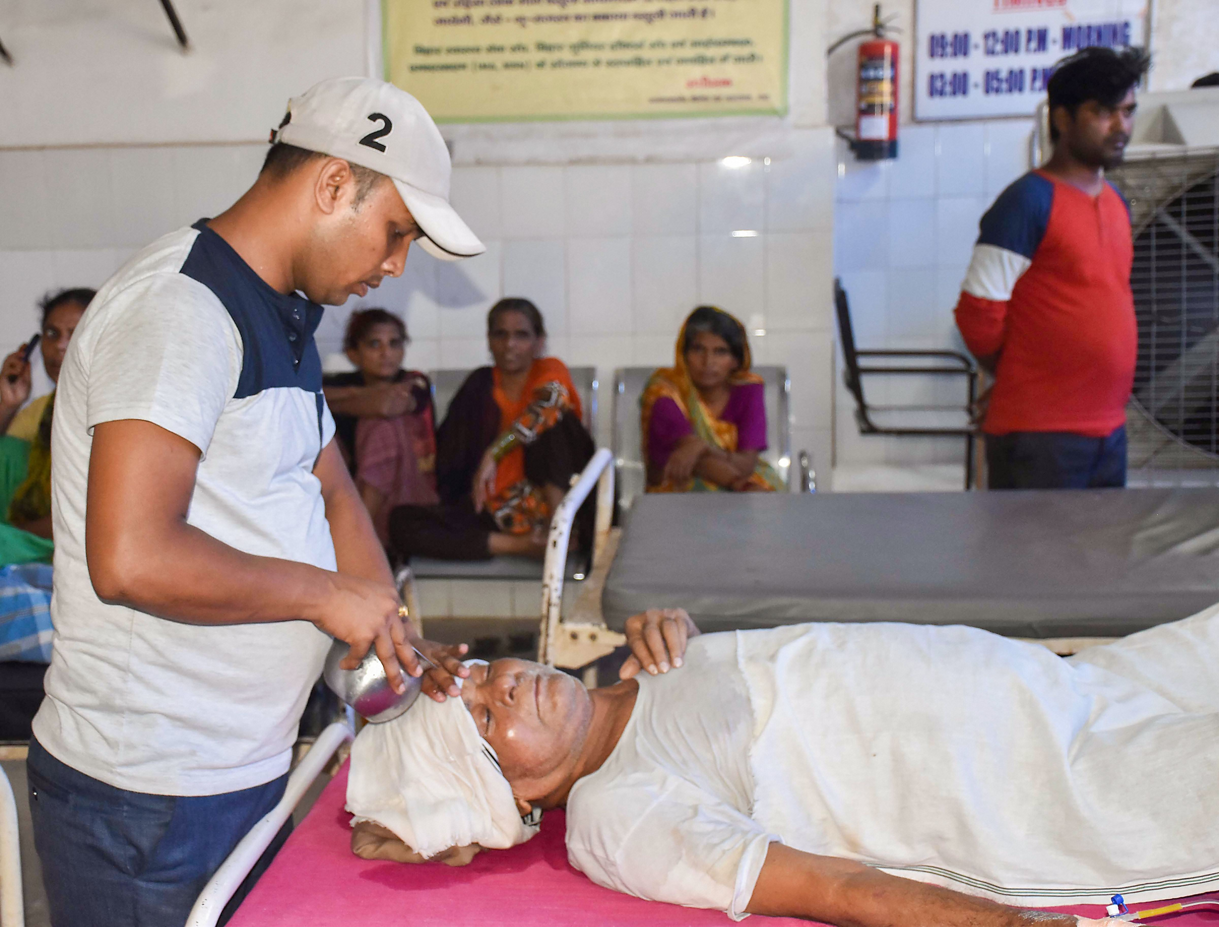 A heatstroke patient at a hospital in Gaya, Monday, June 17, 2019. A searing heatwave in Bihar claimed 15 more lives on Monday, with the death toll rising to 76