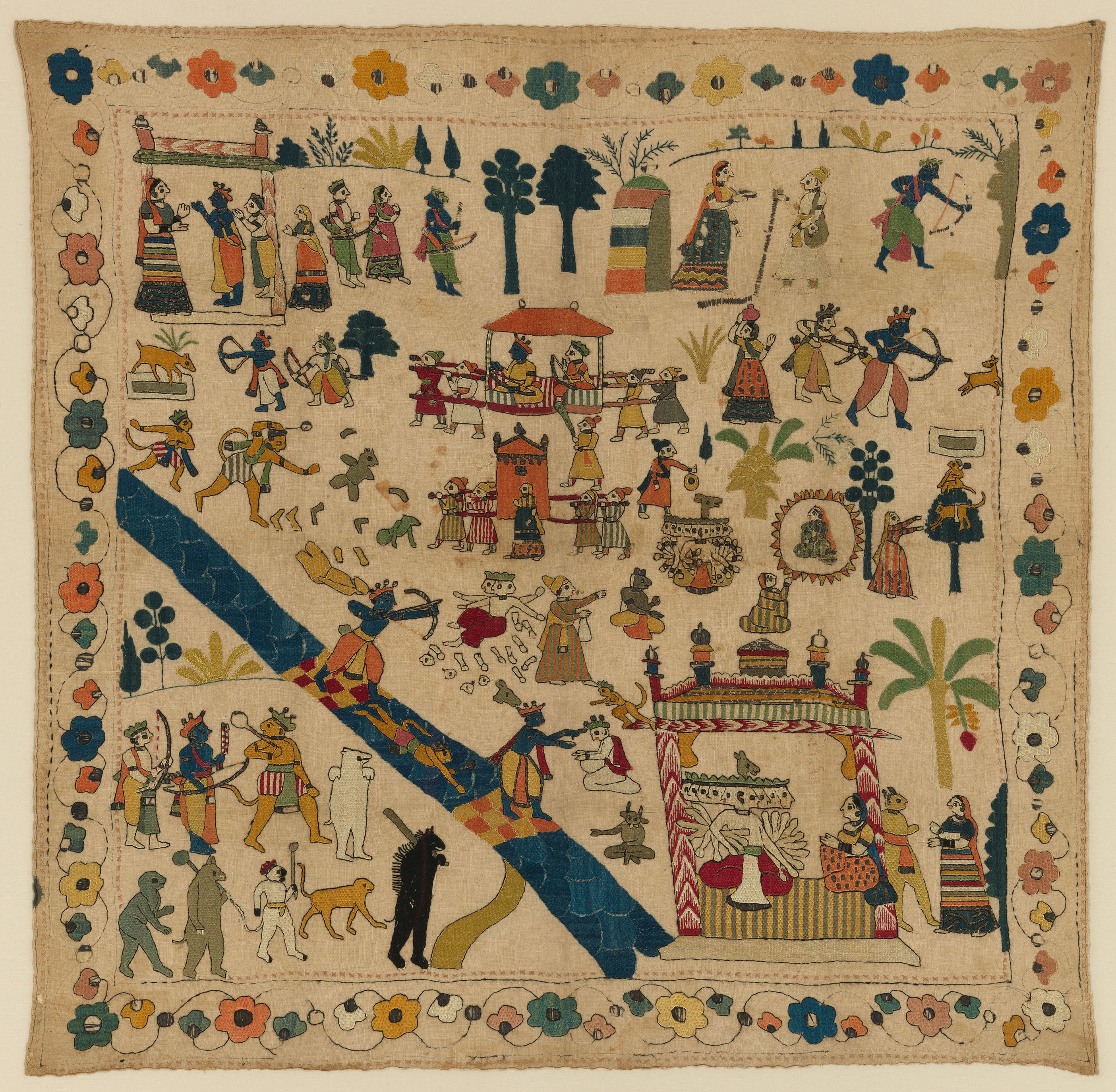 An 18th century cotton scarf from the Chamba region with scenes from the Ramayana embroidered on it with silk, tinsel and metal.