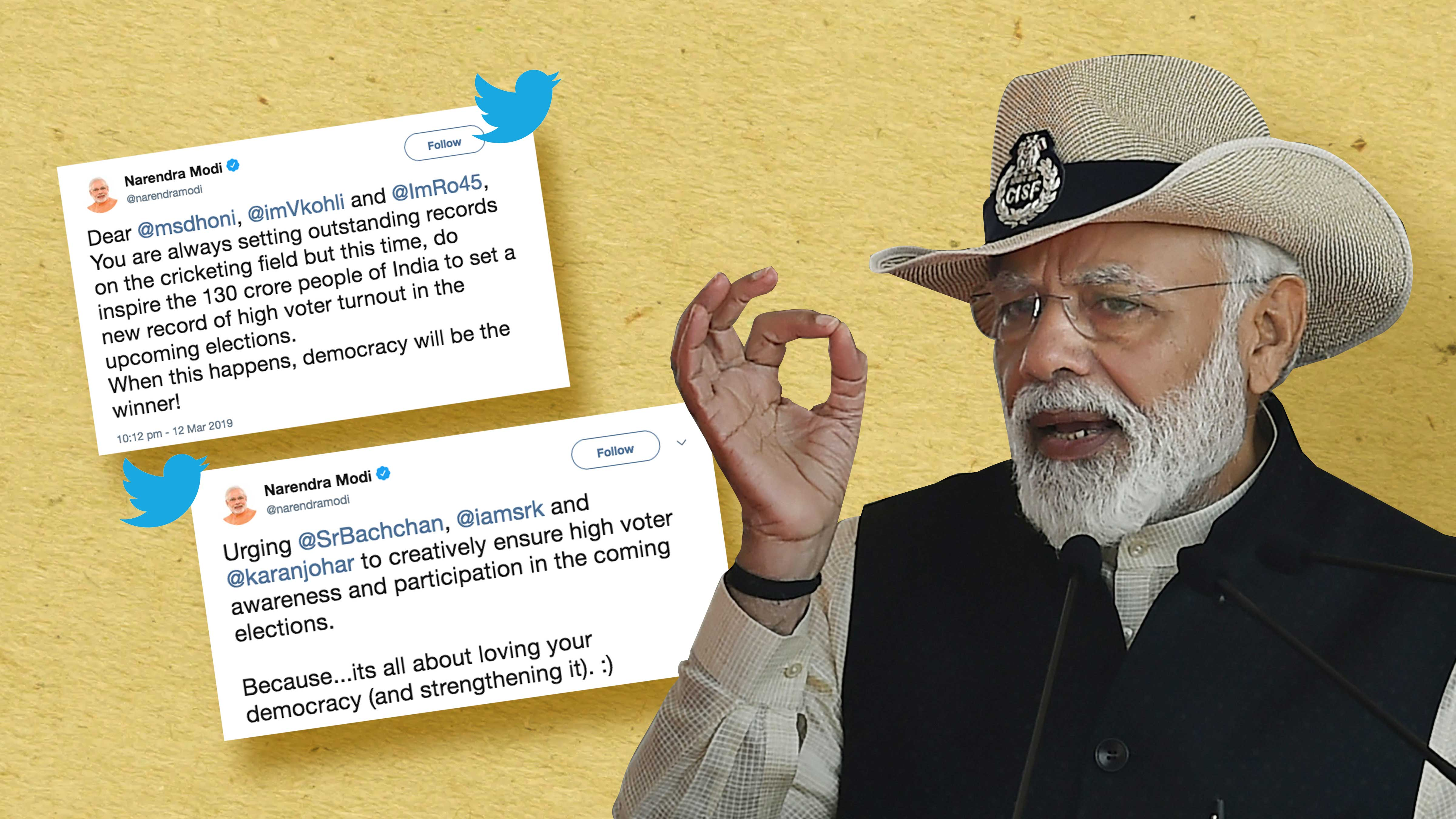 In a series of tweets and a blog post, Narendra Modi has asked