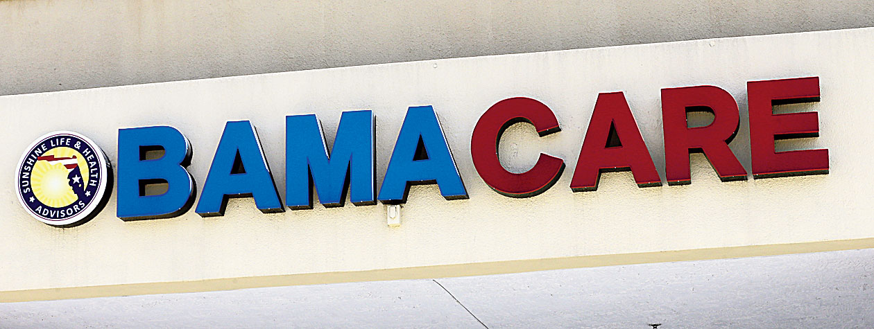 A file picture shows an Obamacare sign in Hialeah, Florida.