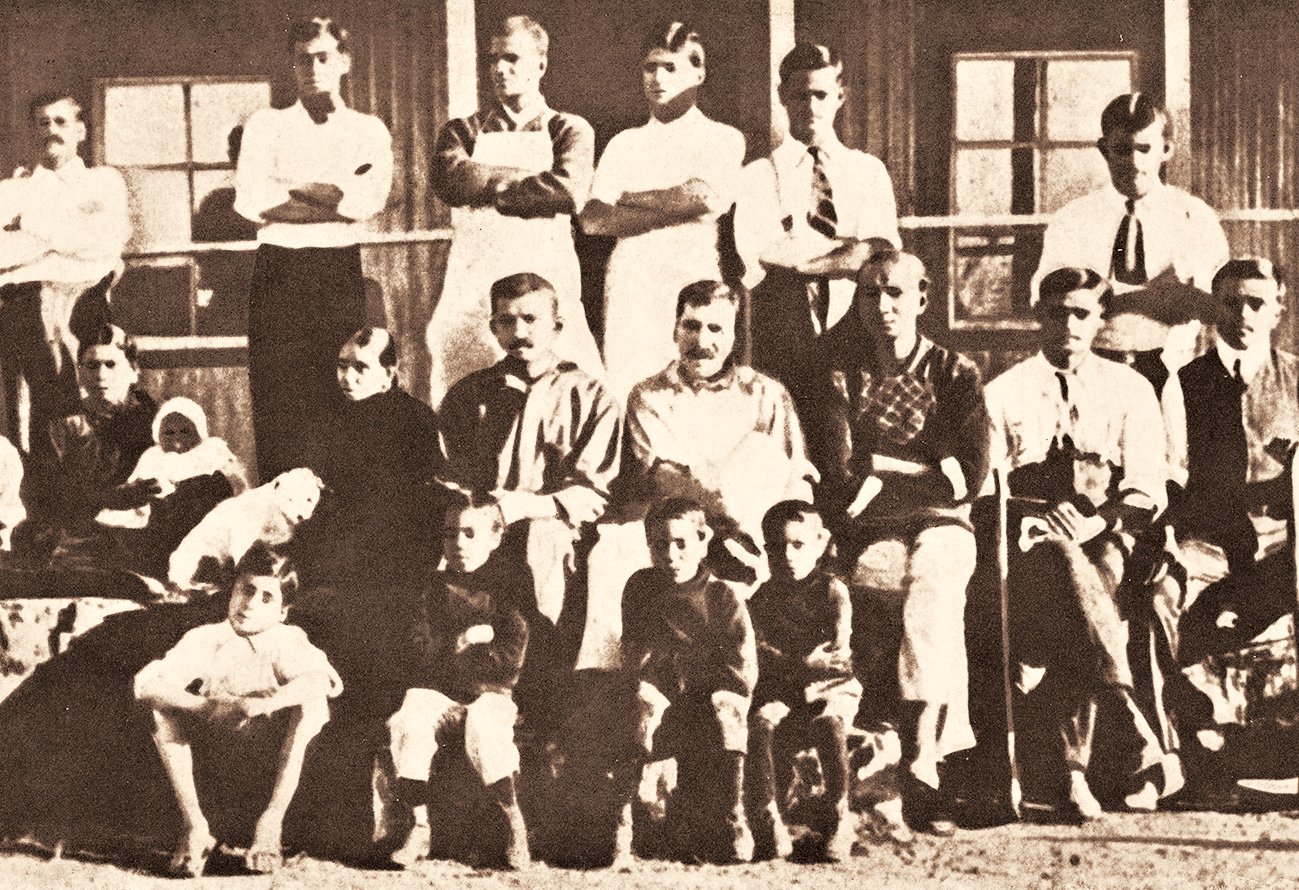 M.K. Gandhi with other members of the Tolstoy Farm in South Africa, 1910