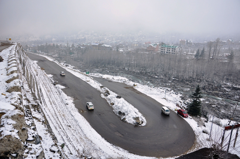 Fresh snow blankets a locality in Kullu on January 4