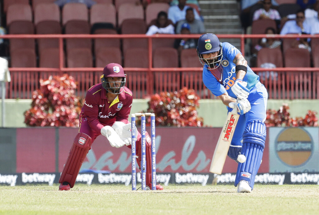 India captain Virat Kohli bats during their third T20 international cricket match against West Indies in Providence, Guyana, on Tuesday, August 6, 2019.