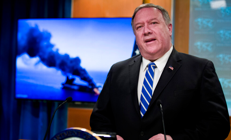 Secretary of State Mike Pompeo speaks at the State Department, Thursday, June 13, 2019, in Washington. Pompeo says Iran is believed to be responsible for attacks on 2 tankers near Persian Gulf.