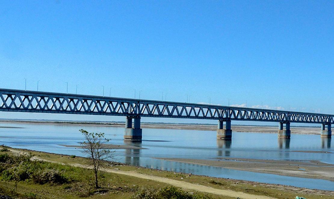 A view of India's longest rail-road bridge 'Bogibeel Bridge' in Dibrugarh on Monday, December 24, 2018