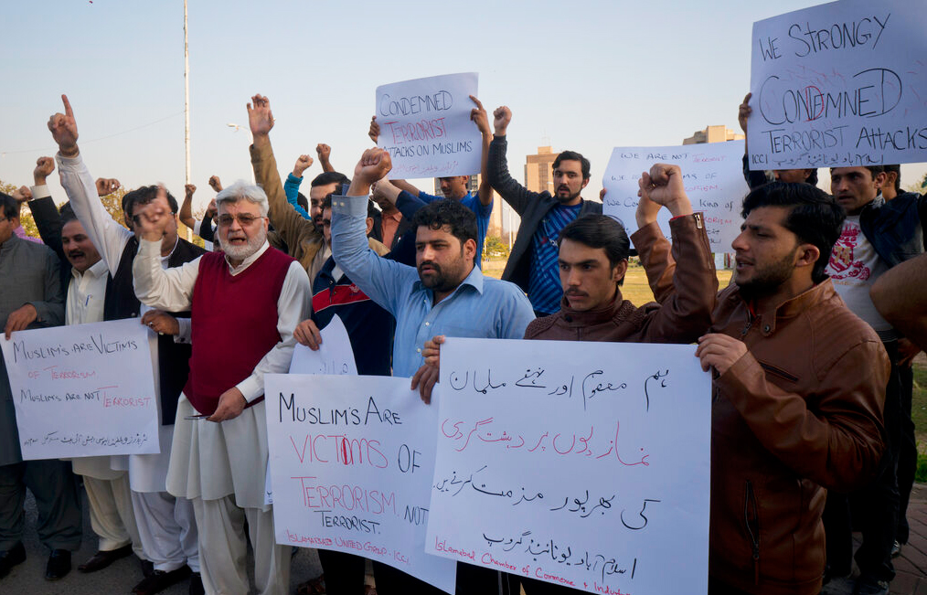 Pakistani traders protest to condemn the New Zealand mosque shooting, in Islamabad, Pakistan on Friday, March 15, 2019.