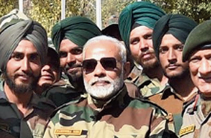 Prime Minister Narendra Modi celebrating Diwali with army and BSF jawans in the Gurez Valley, Jammu and Kashmir, in 2017