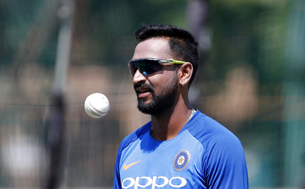 Krunal Pandya prepares to bowl in the nets during a training session on the eve of India's second T20 international cricket match against Australia in Bangalore on Tuesday.