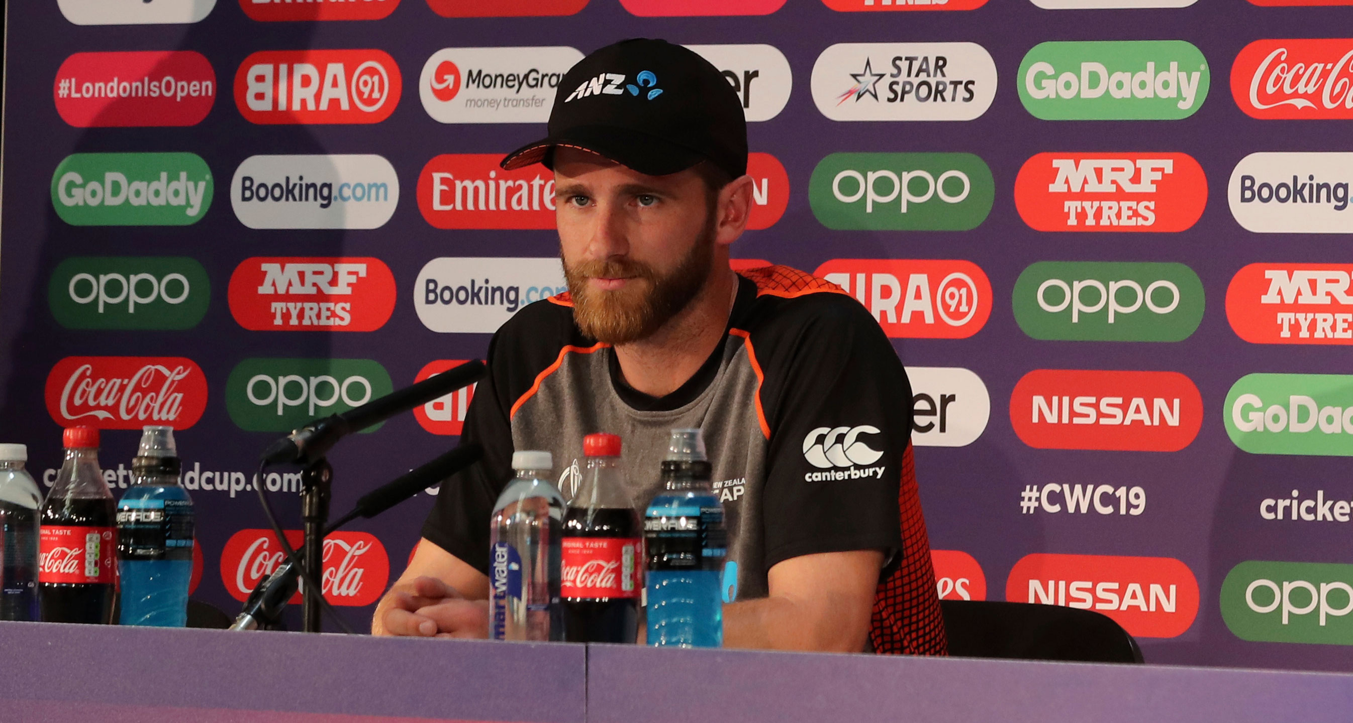 Kane Williamson during a press conference after attending a training session ahead of the ICC Cricket World Cup final match between New Zealand and England at Lord's cricket ground in London, on July 13, 2019.