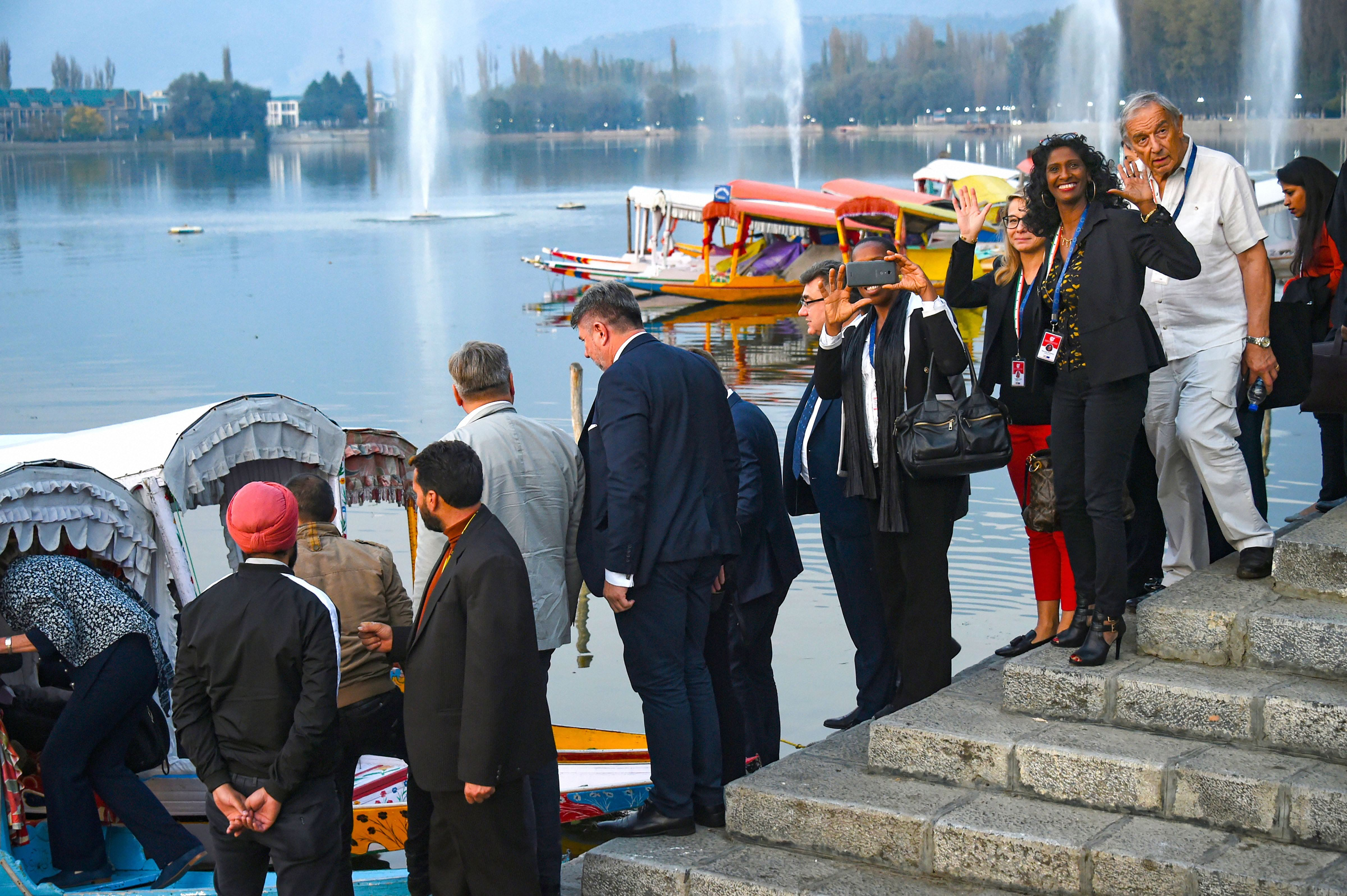 Members of European Union Parliament delegation board a shikara ride at Dal Lake in Srinagar, Tuesday, October 29, 2019.