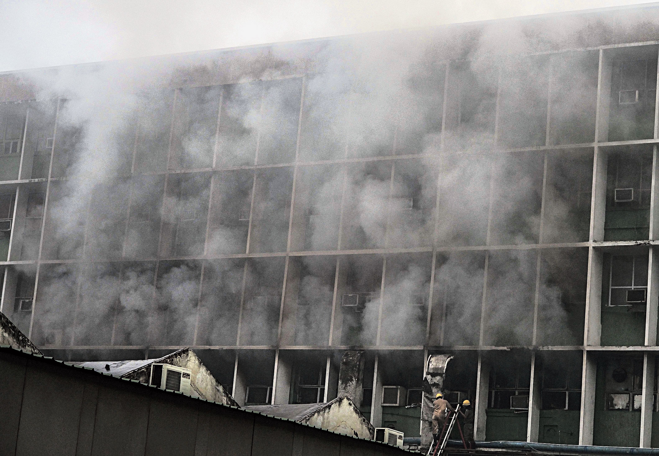 Smoke billows out of the AIIMS on Saturday.
