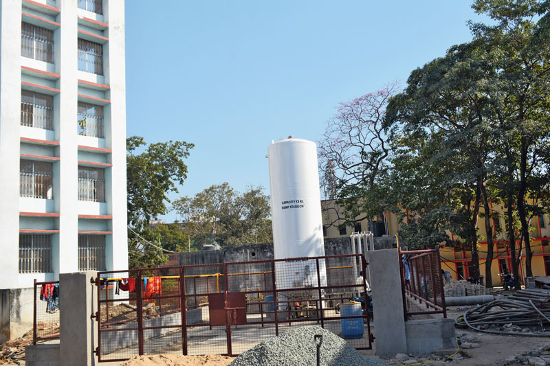 The new liquid oxygen plant on the premises of MGM Medical College and Hospital on Monday.