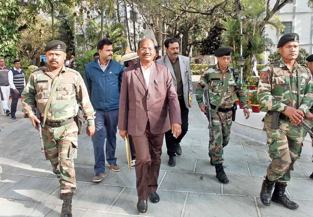 Jharkhand Speaker Dinesh Oraon on his way to the Assembly court in Ranchi on Wednesday.