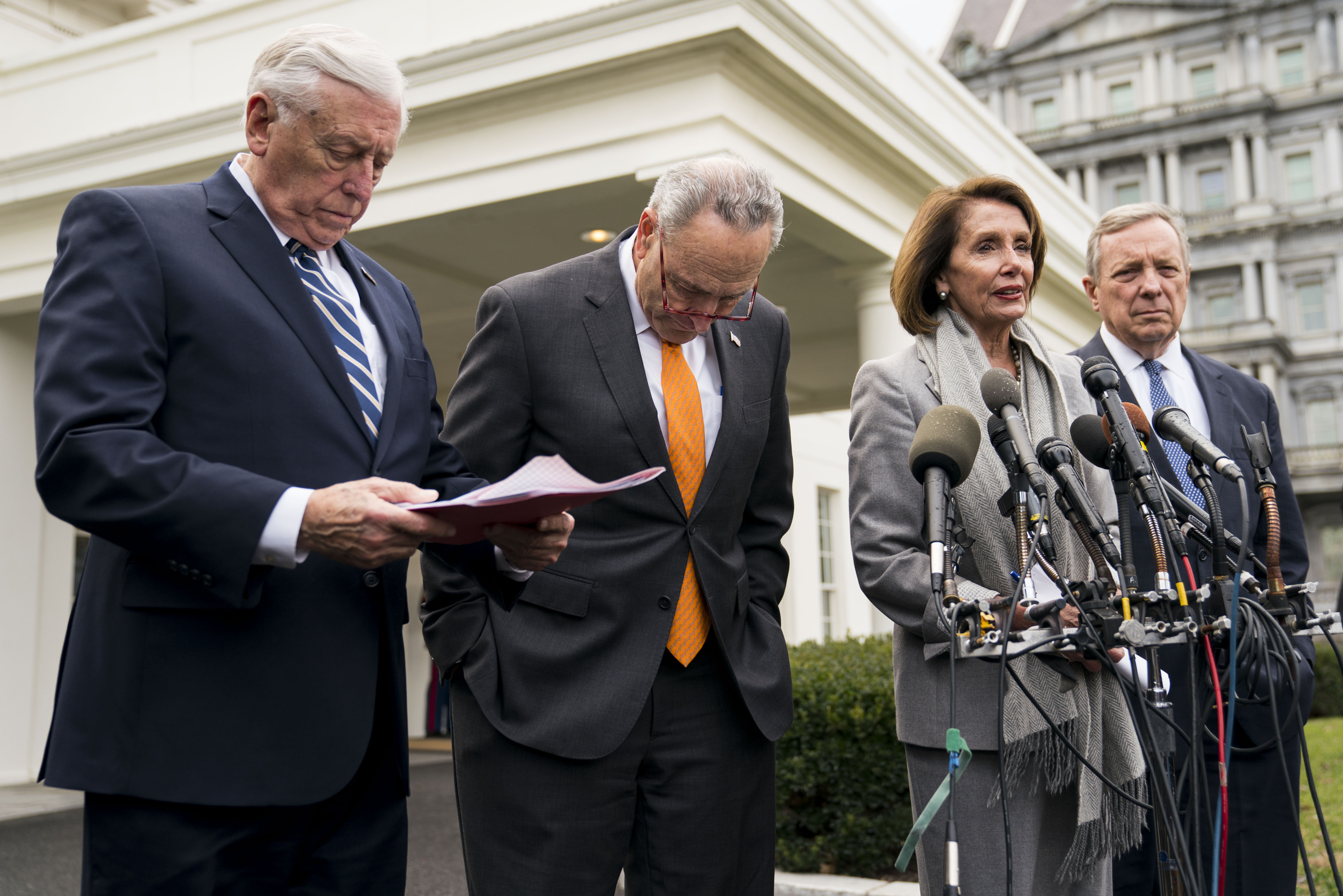 (From left) House Majority Leader Steny Hoyer, Senate Minority Leader Chuck Schumer, House Speaker Pelosi and Sen. Dick Durbin after the meeting with Donald Trump at the White House on Wednesday.