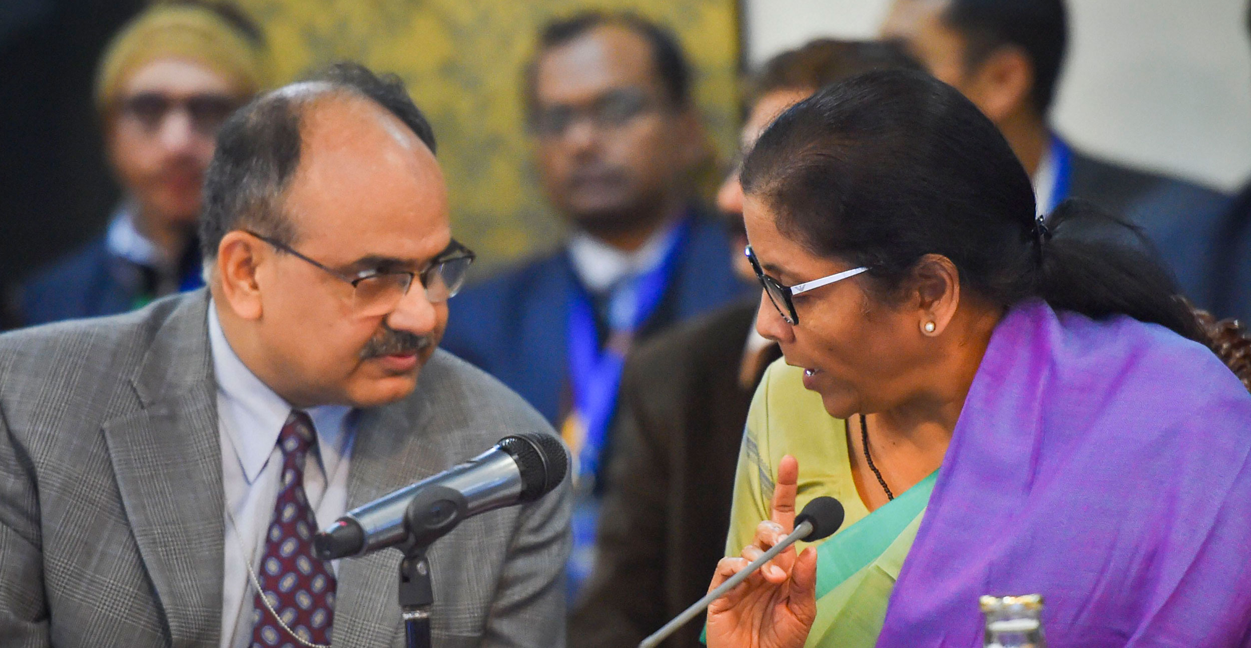Nirmala Sitharaman and Ajay Bhushan at the 38th GST Council meeting in New Delhi on Wednesday.