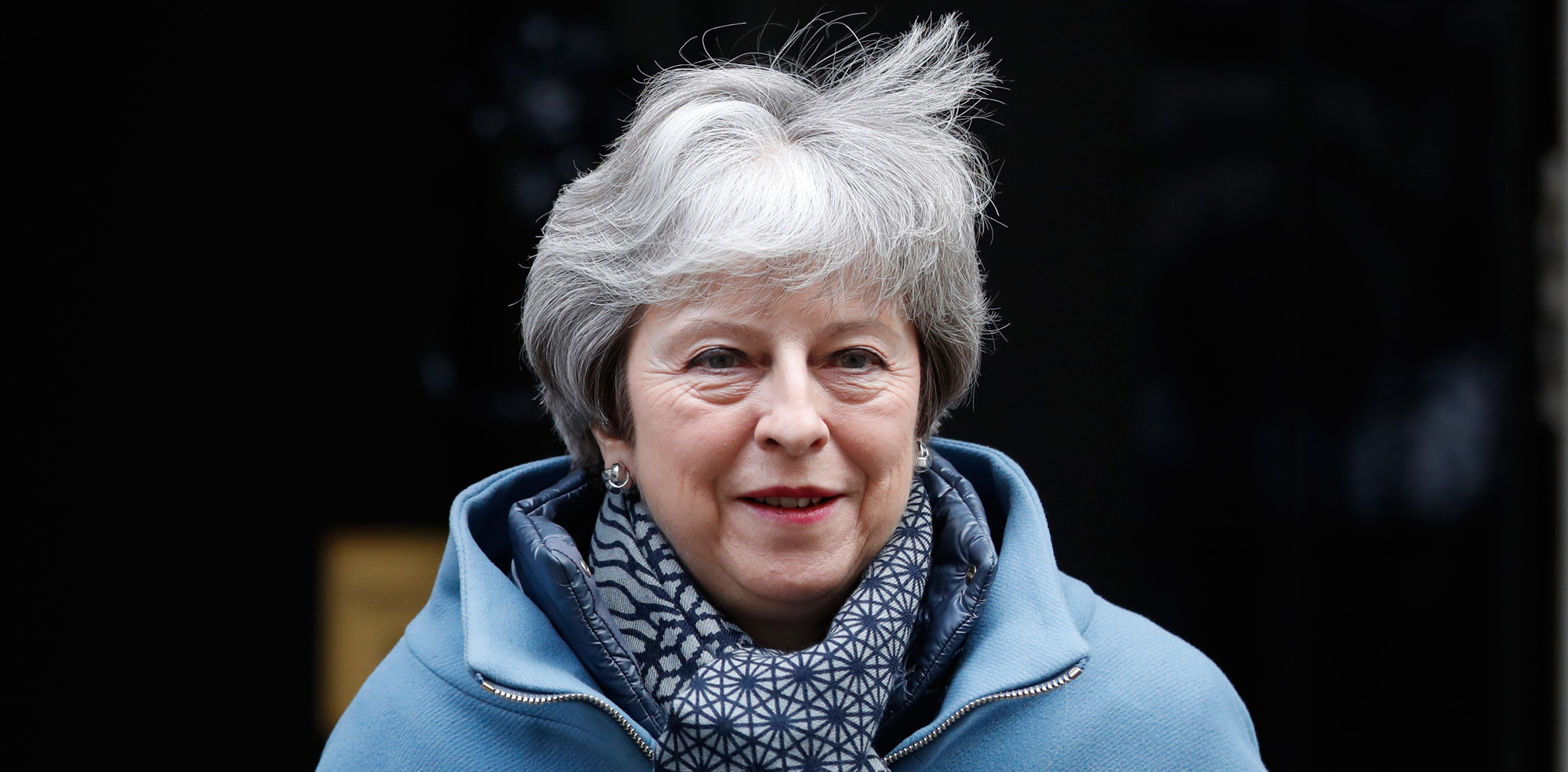Britain's Prime Minister Theresa May leaves 10 Downing Street for the House of Commons for her weekly Prime Minister's Questions in London on Wednesday, January 23.