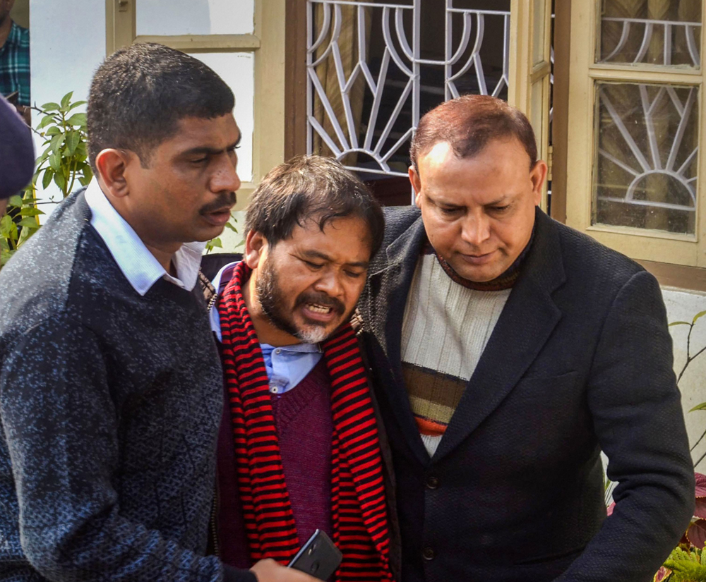 KMSS advisor Akhil Gogoi being produced in an NIA court in Guwahati, Tuesday, December 17, 2019.