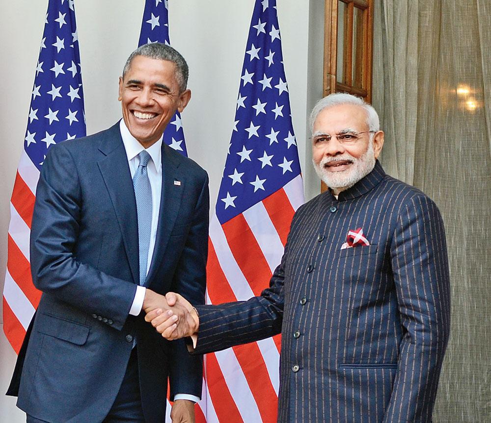 PM Narendra Modi with US President Barack Obama in Hyderabad House, Delhi, in 2015