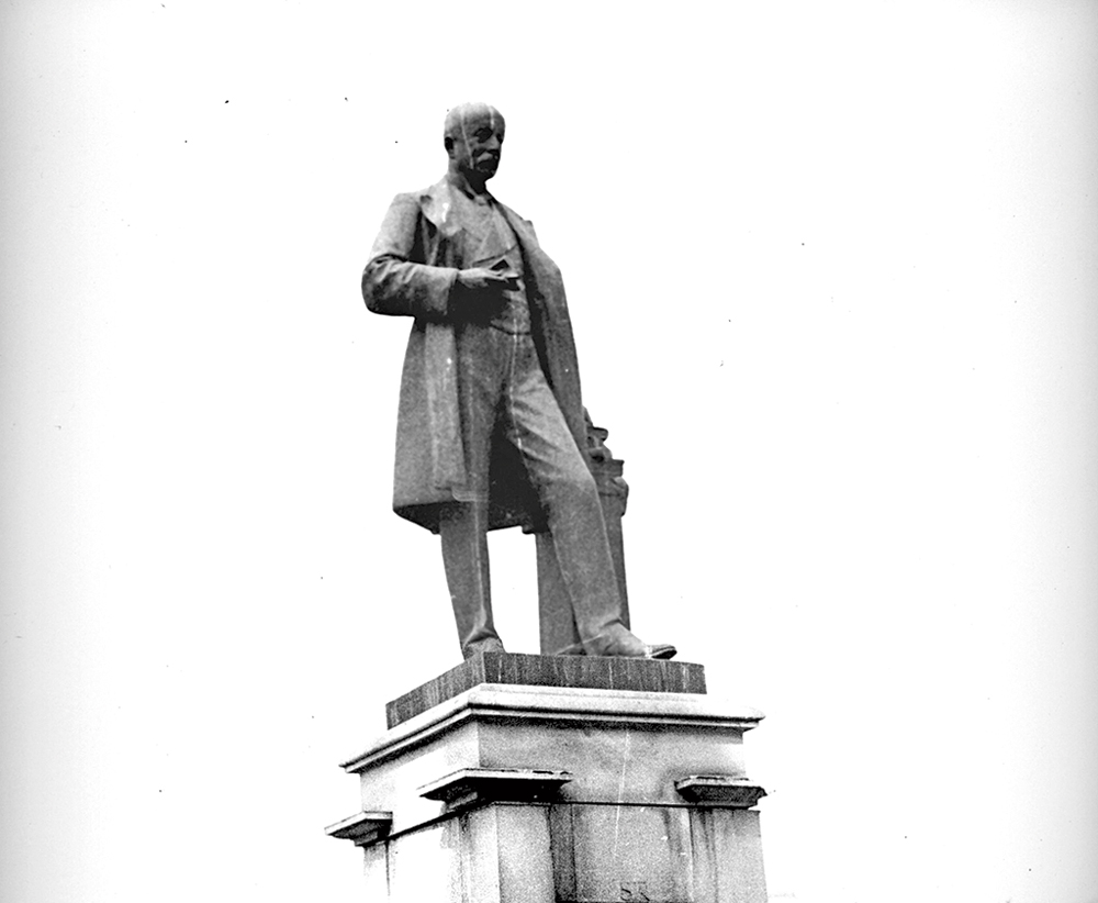 The statue of Sir Andrew Henderson Leith Fraser that can be seen on the Victoria Memorial premises