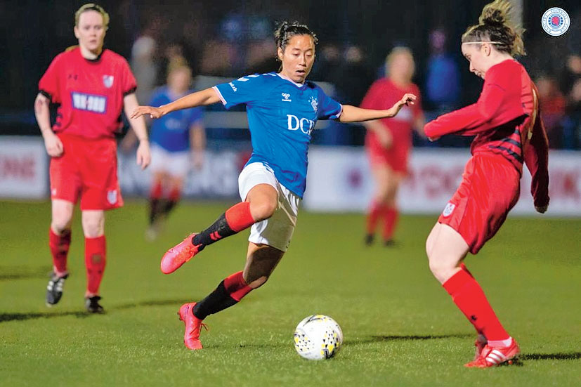 Bala Devi in action for Rangers FC.