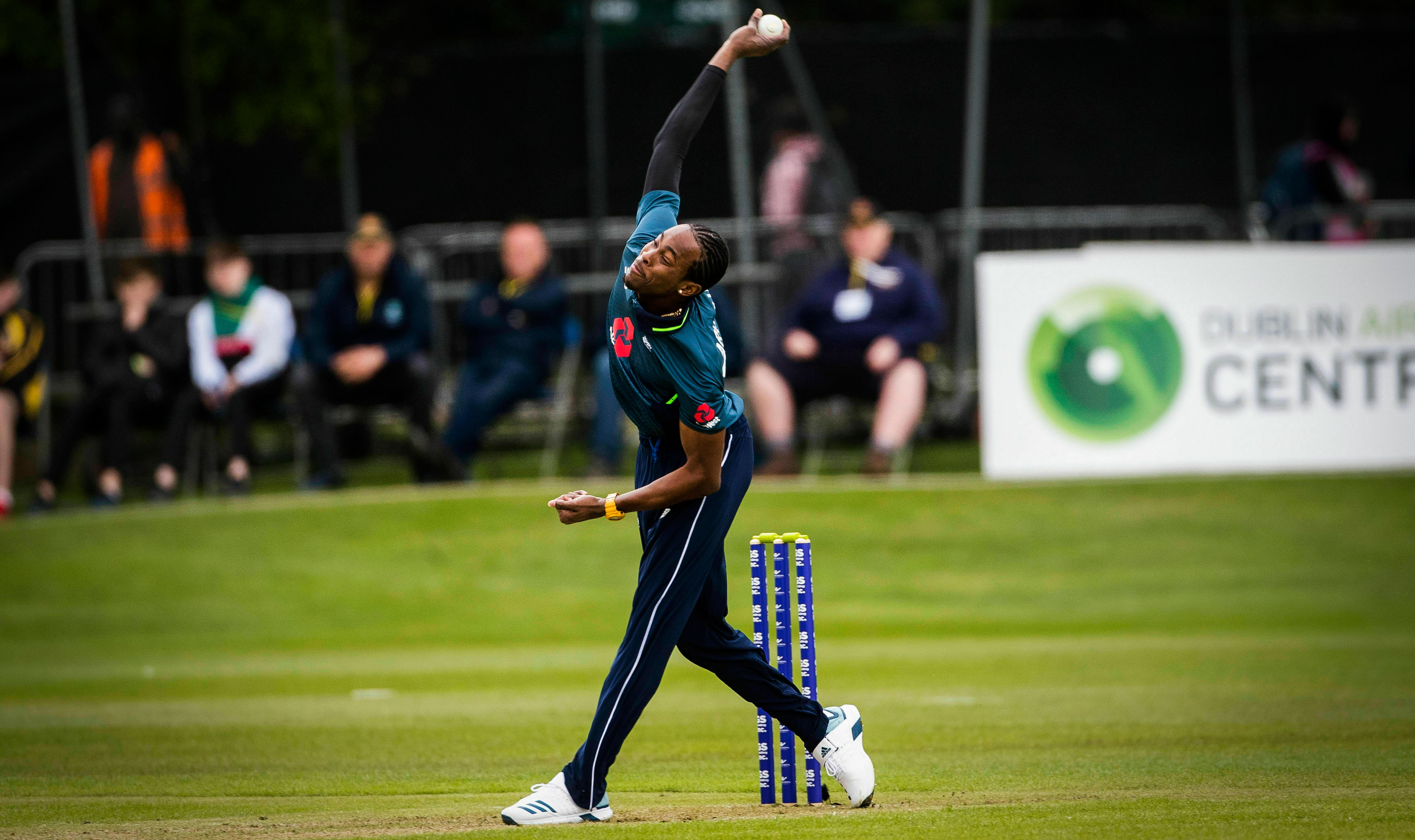 Jofra Archer bowls during the ODI cricket match against Ireland at Malahide Cricket Club, Dublin, on May 3, 2019.