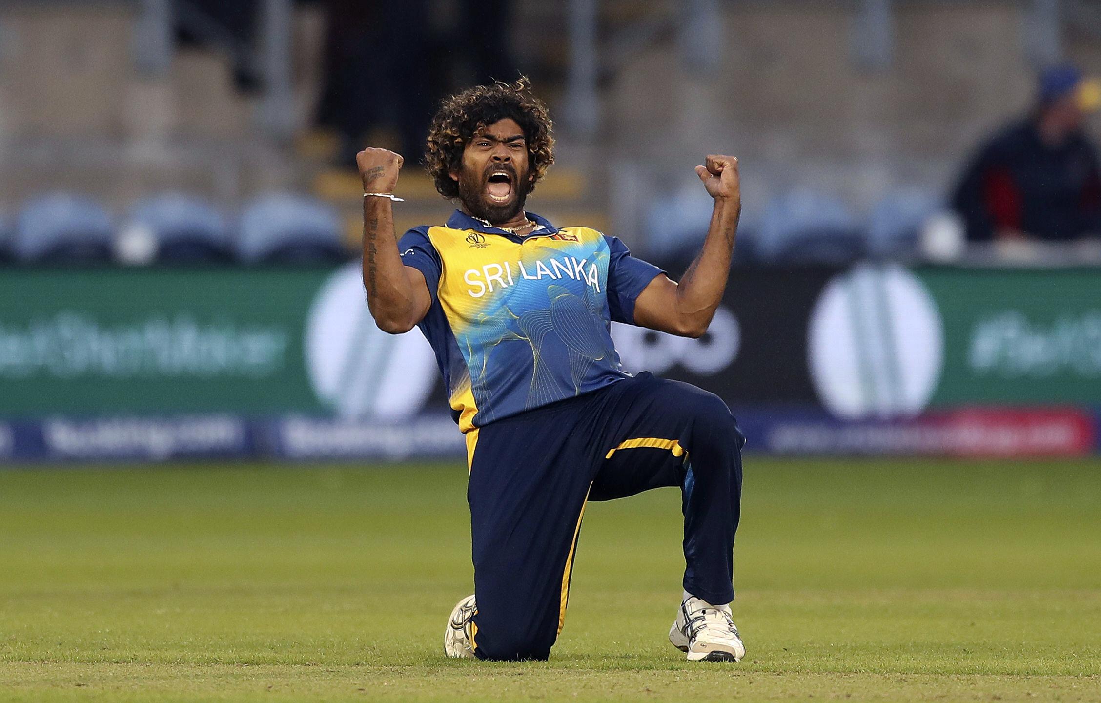 Sri Lanka's Lasith Malinga celebrates taking the wicket of Afghanistan's Hamid Hassan at the Cardiff Stadium on June 4.