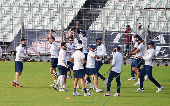 Team India, led by Virat Kohli (left), in high spirits during practice at Eden Gardens on Wednesday