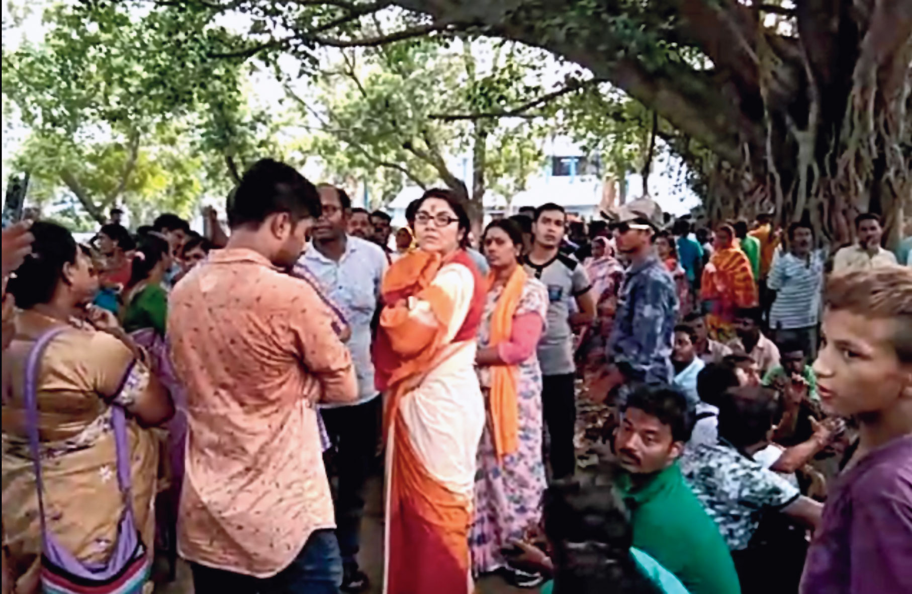 BJP MP Locket Chatterjee at Sandeshkhali on Sunday.