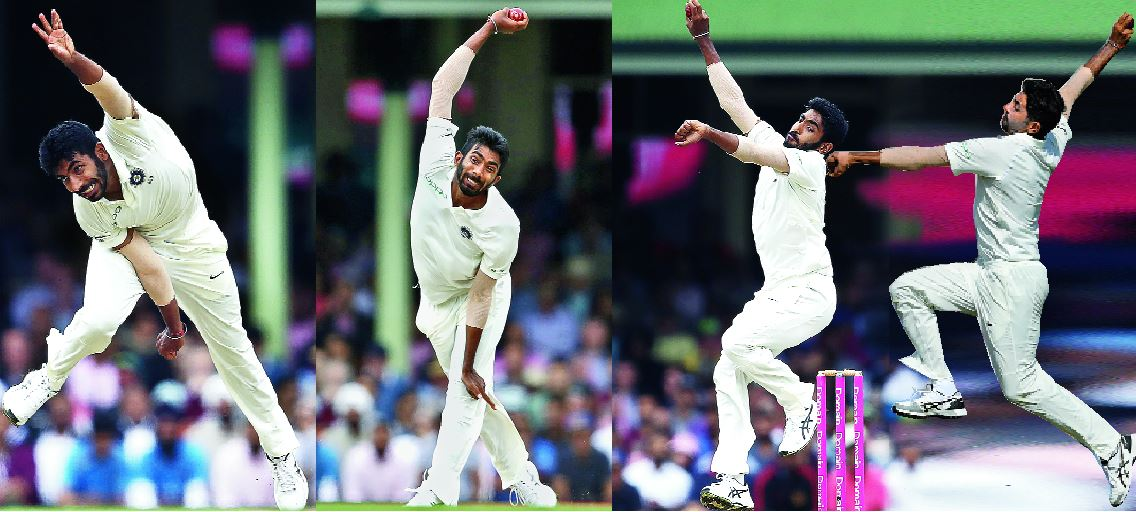 Jasprit Bumrah's action in his delivery stride