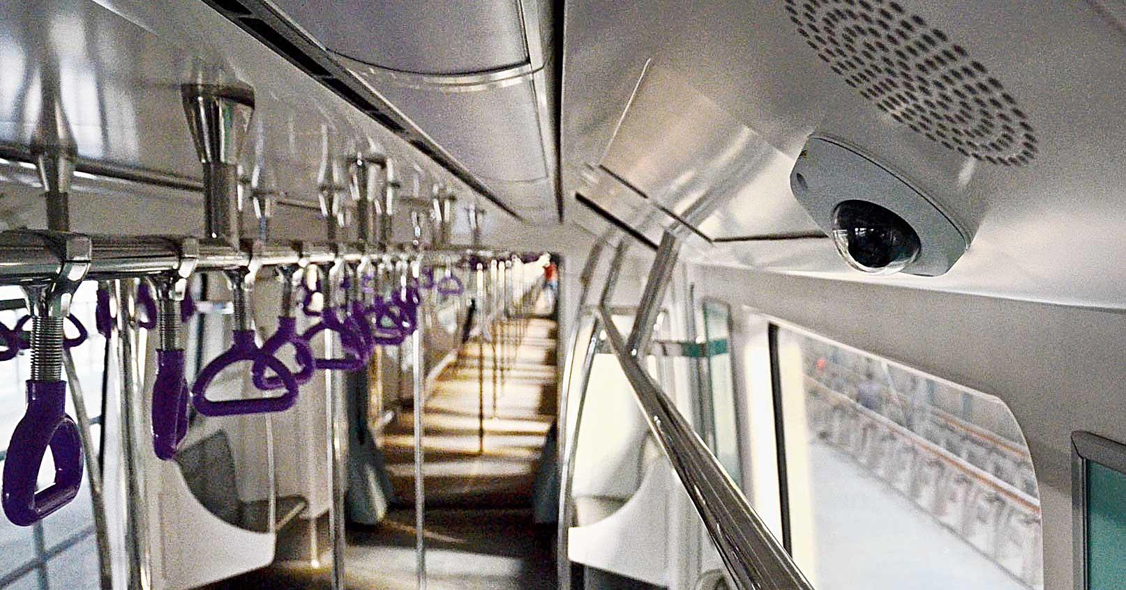 A CCTV camera inside an East-West Metro rake