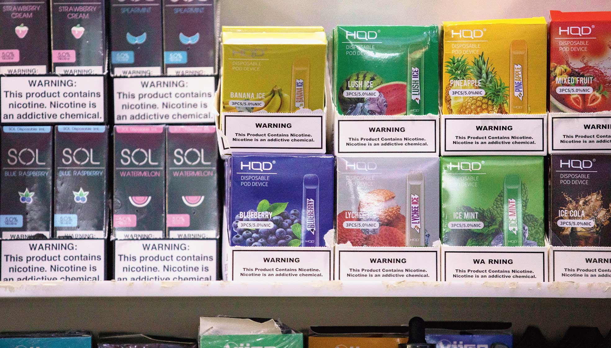 Various brands and flavors of disposable vape devices at a store in the Brooklyn borough of New York on January 31.