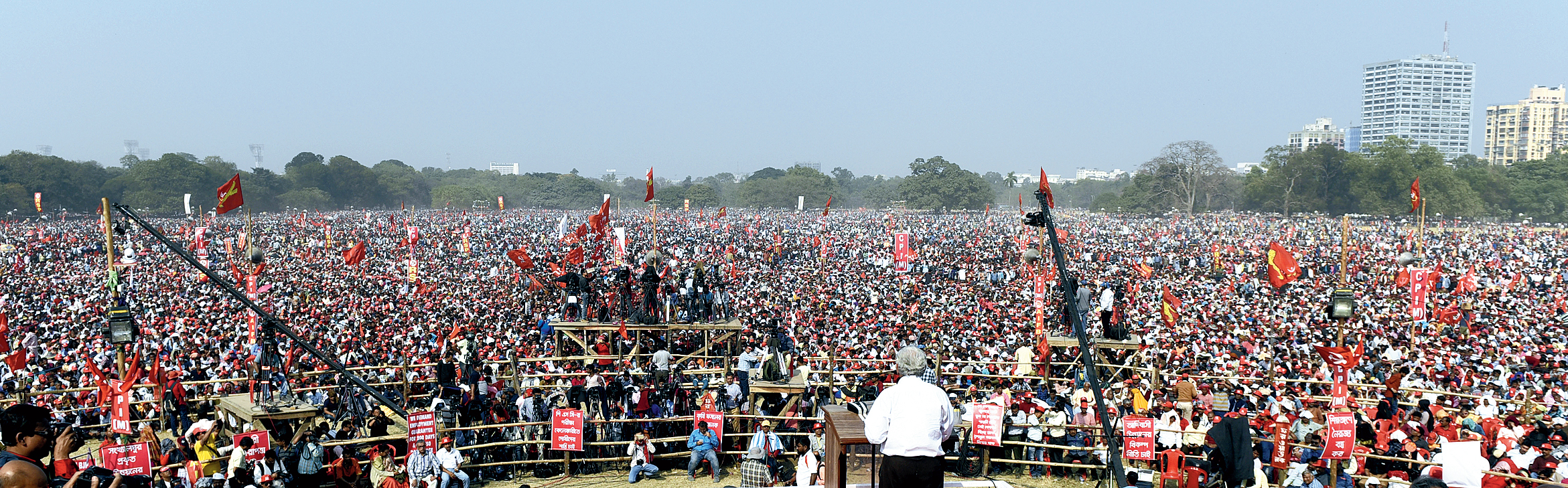 The Left Front rally at the Brigade Parade Grounds in Calcutta on Sunday.