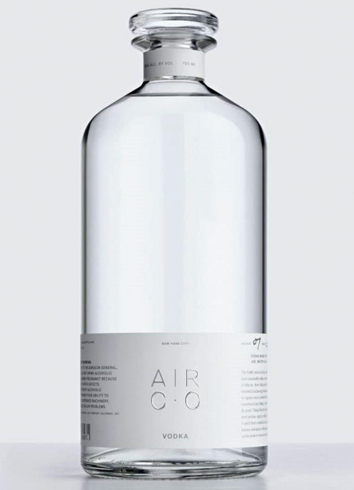 Typically, making a bottle of vodka might produce around 13 pounds of greenhouse gases. But the product brought out by Air Co. is actually carbon negative, removing a pound of CO2 for every bottle it produces