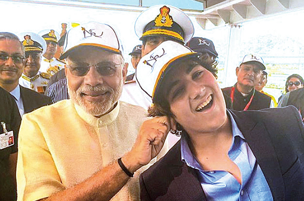 A picture posted on Instagram by Akshay shows his son with Modi