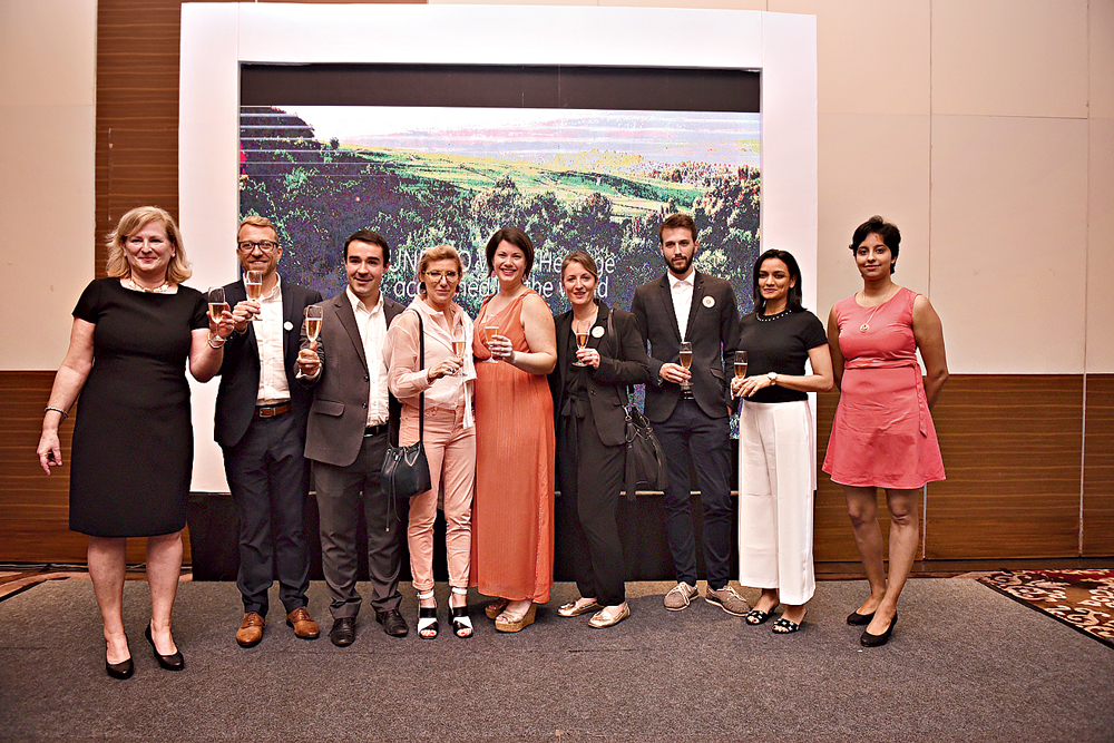Consul general of France Virginie Corteval raises a toast with the delegation at Swissotel