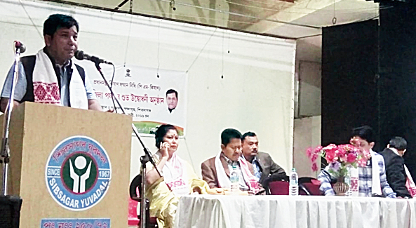 A speaker at the event in Sivasagar on Sunday.