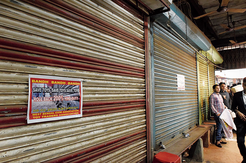 Closed shutters on Canning Street during the toy traders' strike on Saturday.