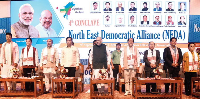 Union home minister Amit Shah with the chief ministers of the northeastern states at the fourth conclave of the North East Democratic Alliance in Guwahati on Monday.