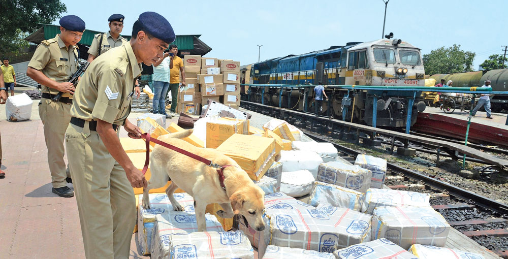 Security personnel with a sniffer dog inspect parcels at Guwahati railway station on Thursday