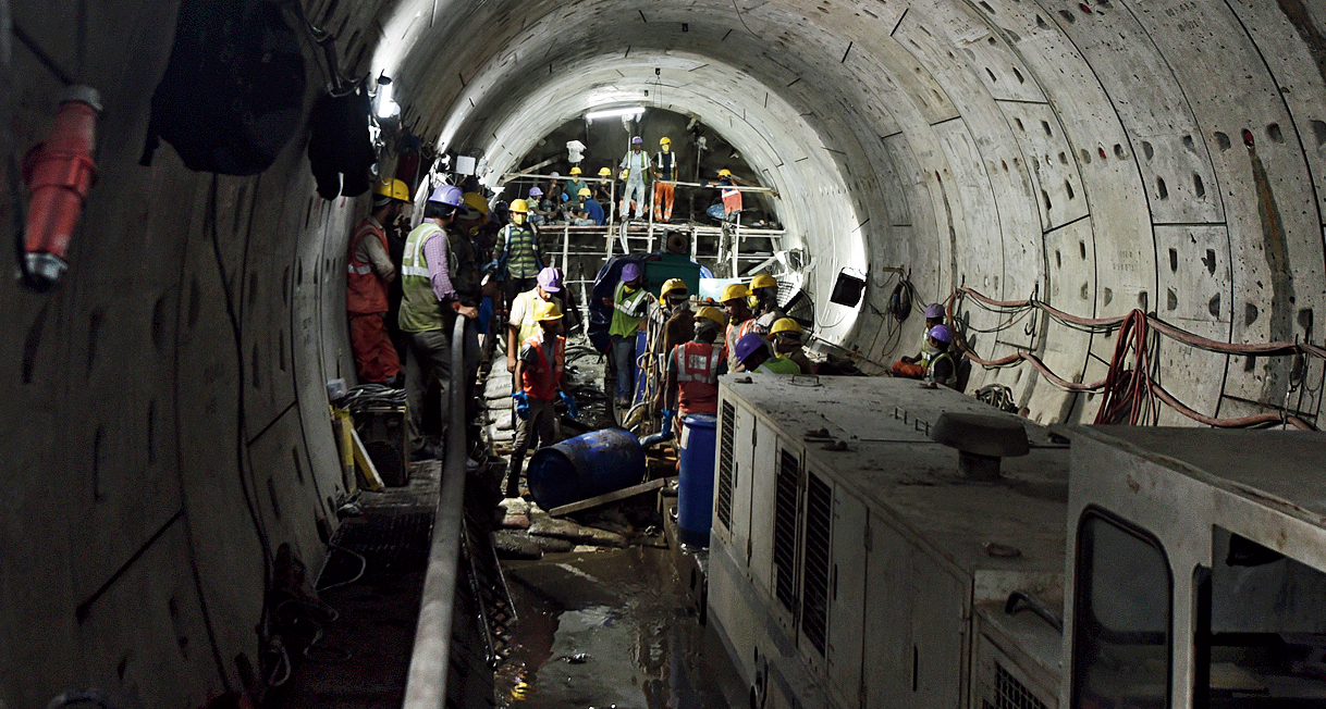 The East-West Metro tunnel in Bowbazar a few days after water had entered it