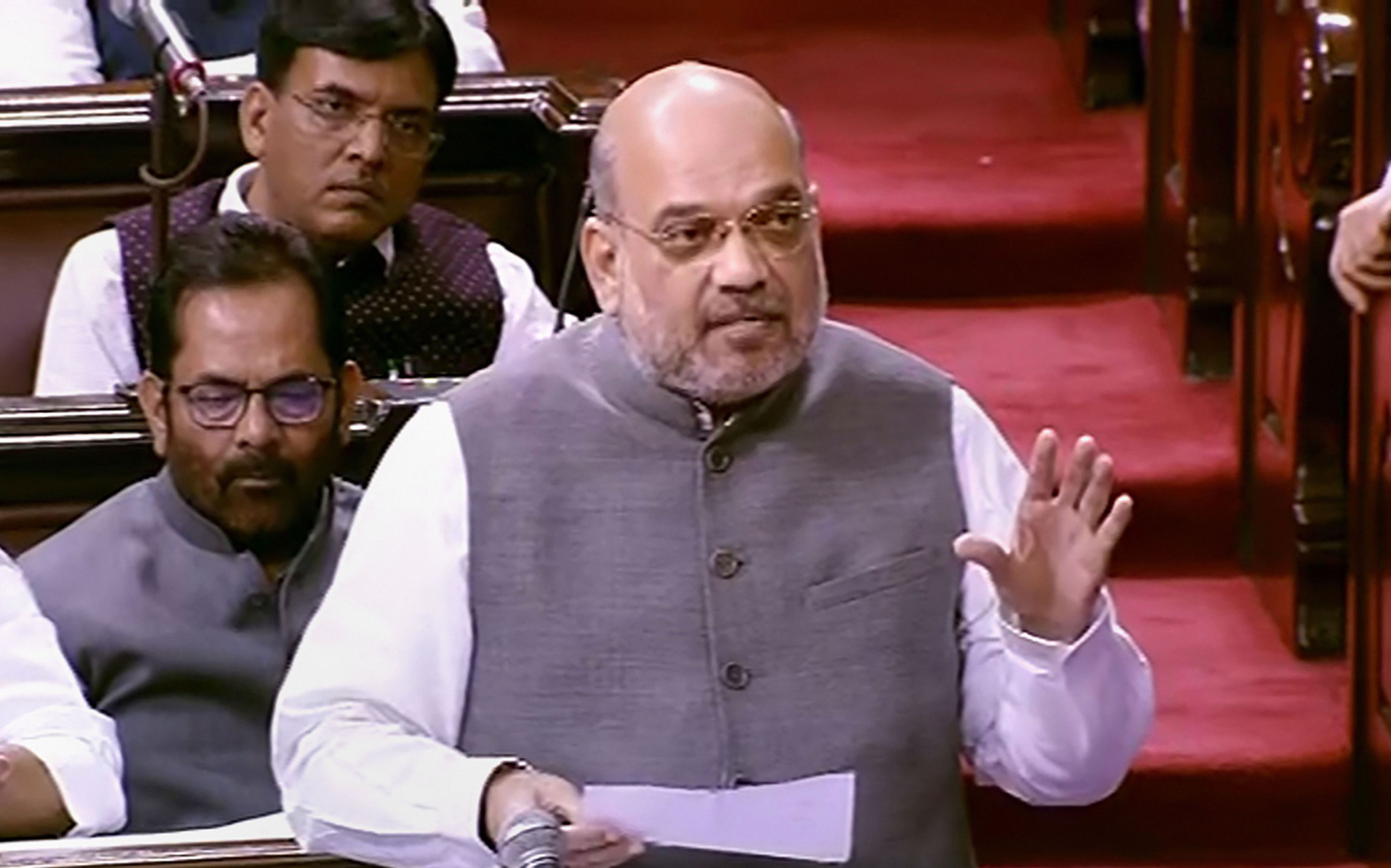 Amit Shah speaks in the Rajya Sabha on Monday, August 5.
