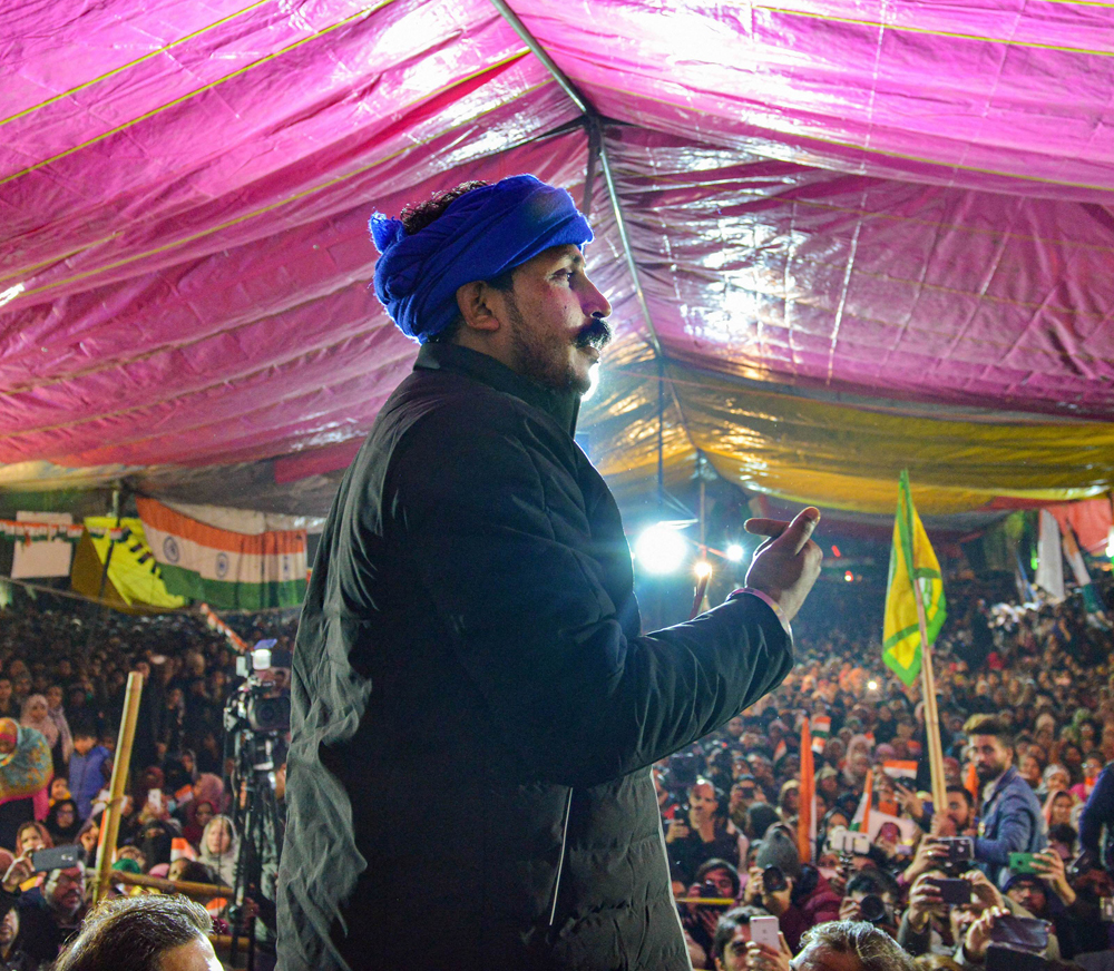 Bhim Army Chief Chandrasekhar Azad speaks during the ongoing protest against NRC and CAA at Shaheen Bagh in New Delhi, Wednesday, January 22, 2020.