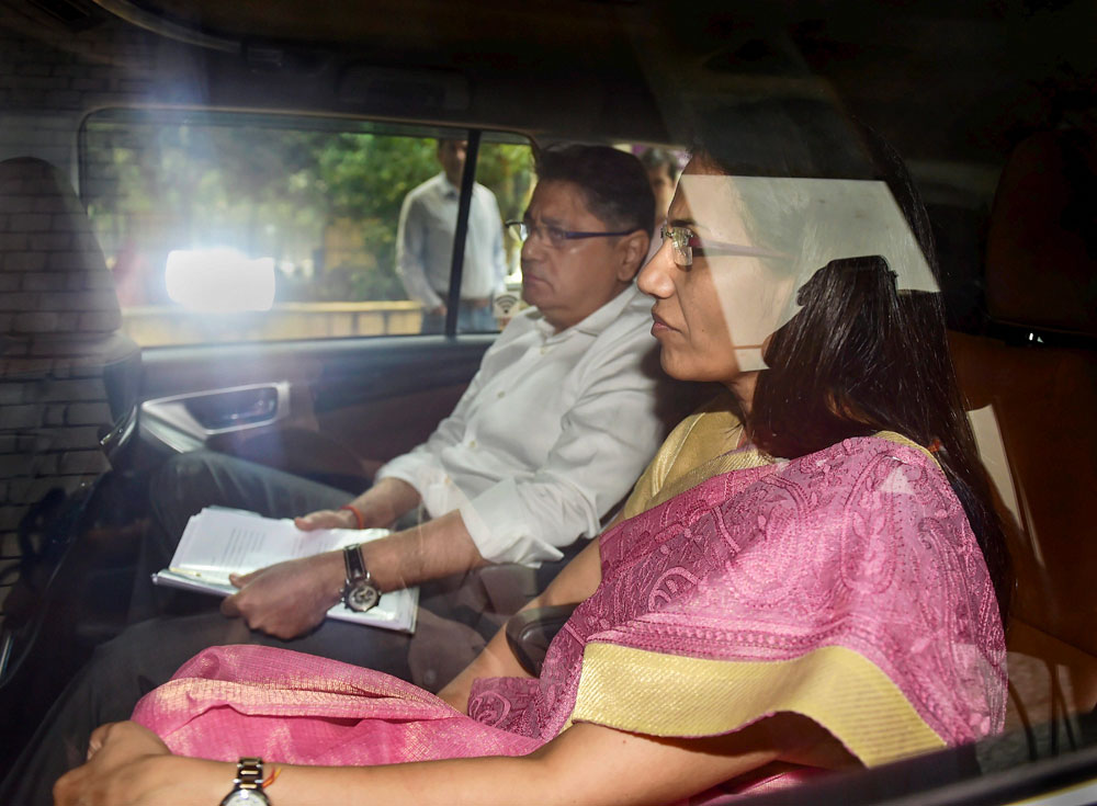 Former ICICI Bank CEO Chanda Kochhar arrives to appear before the Enforcement Directorate along with her husband Deepak Kochhar in New Delhi on Monday