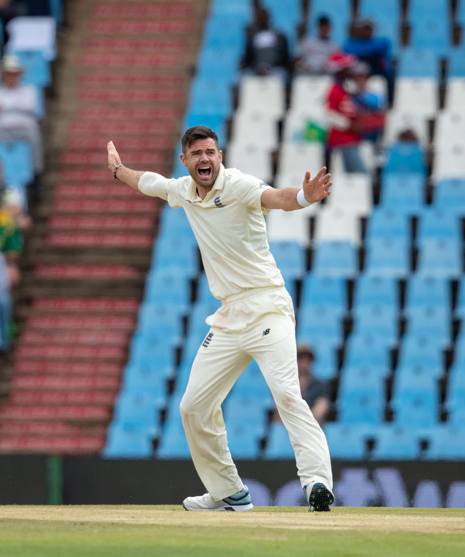 England's bowler James Anderson on day three of the first cricket test match between South Africa and England at Centurion Park in Pretoria, South Africa, Saturday