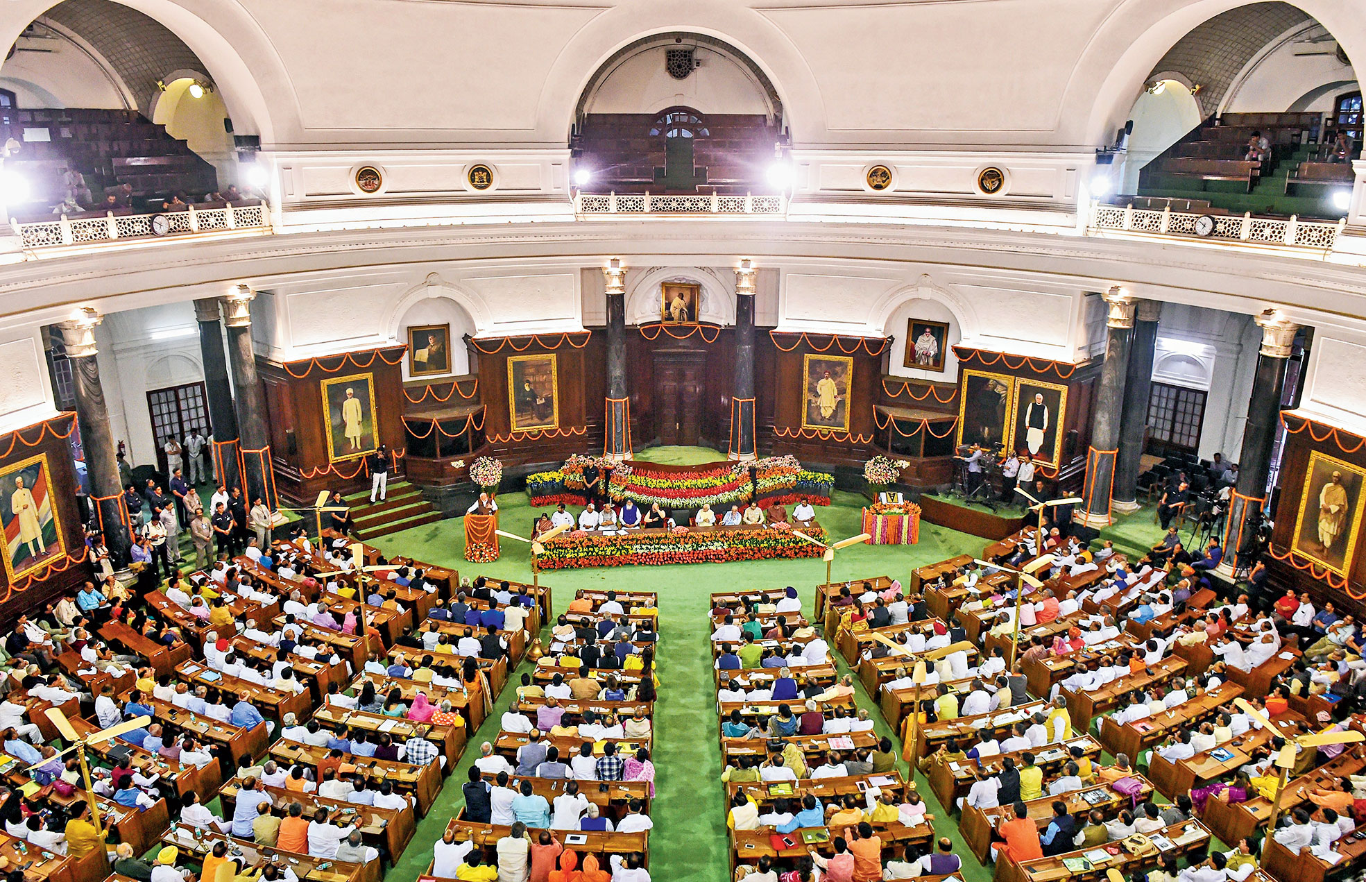 Modi addresses NDA members at the central hall of Parliament on Saturday.