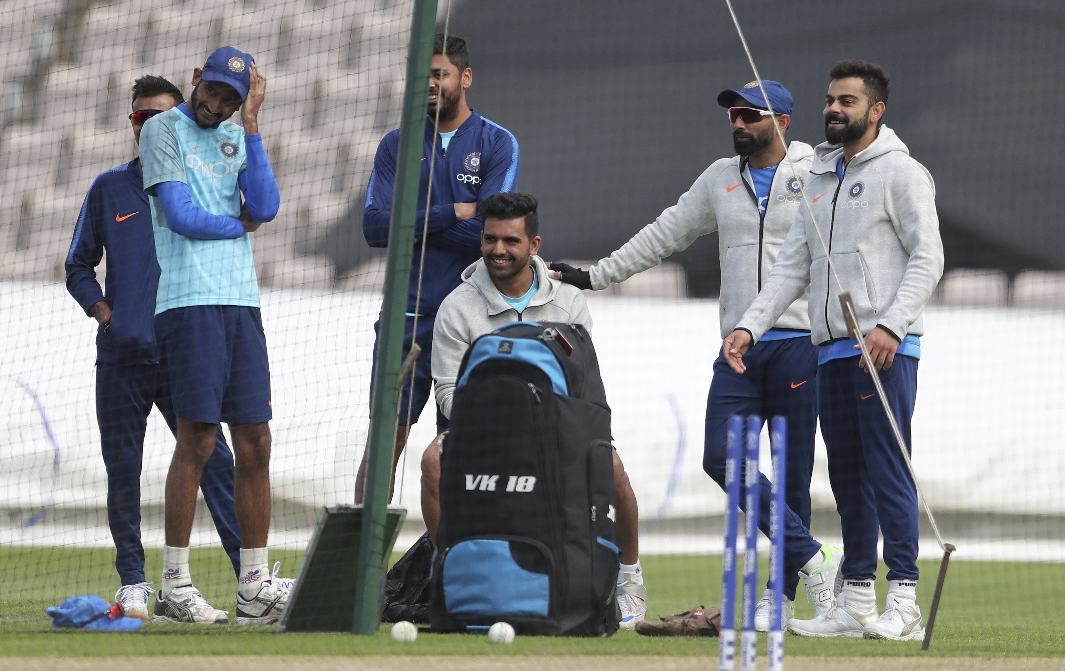 Virat Kohli with teammates at the nets during a training session ahead of the match against South Africa in Southampton on June 3.