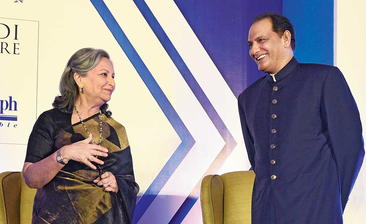 Mohammed Azharuddin with Sharmila Tagore at the Air India presents Tiger Pataudi Memorial Lecture, a joint initiative by The Bengal Club & The Telegraph in association with The Oberoi Grand Kolkata, on Monday.