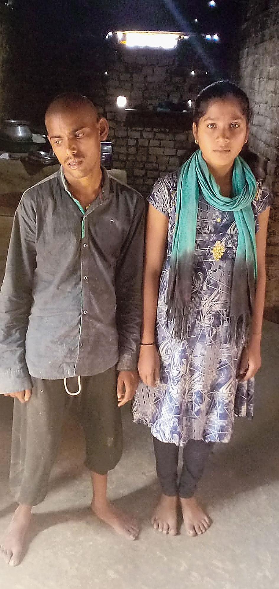 Arjun Mahto's son and daughter at Ichak in Hazaribagh on Thursday.
